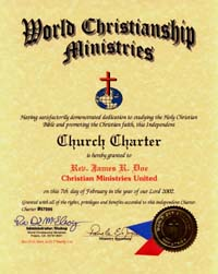 charter cert becoming an ordained minister
