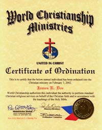ordination certificate one inch